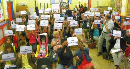 Solidarity with Simon Moore by  attendees at Save Leyton Marsh Campaign's Defend The Right To Protest meeting