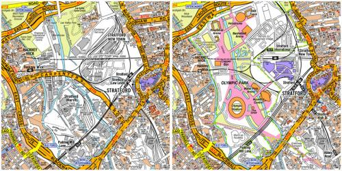 Olympic Park before/during the Games - Stratford City/rail lands on right