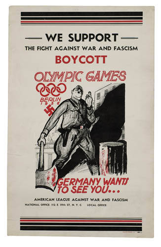 American League Against War and Fascism poster: Poster calling for boycott of Hitler's 1936 Games