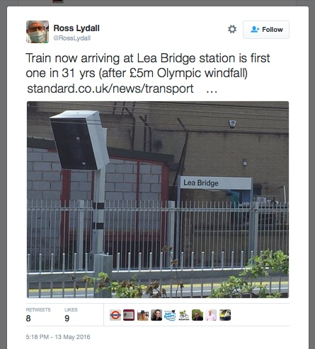 Tweet trumpetting Lea Bridge Station re-opening as Olympics windfall