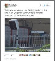 Tweet trumpetting Lea Bridge Station re-opening as Olympics windfall